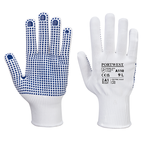 Polka Dot Glove, WhBlu     Size Large R/Fit