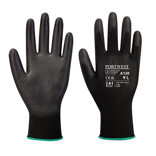 PU Palm Glove, Black      Size Large R/Fit