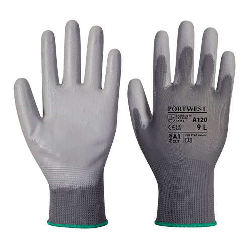 PU Palm Glove, Grey       Size Large R/Fit