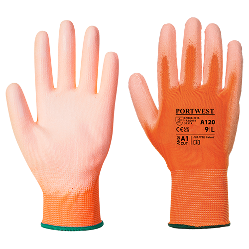 PU Palm Glove, OrOr      Size Large R/Fit