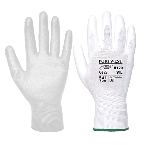 PU Palm Glove, White      Size Large R/Fit