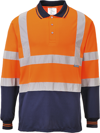 Two-Tone Long Sleeved Polo, Orange/Navy, XL (   S279  )