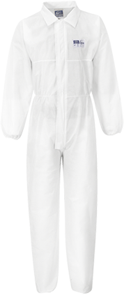 Coverall with Collar  (50pc), White, XXL, Regular (   ST38WHRXXL     )